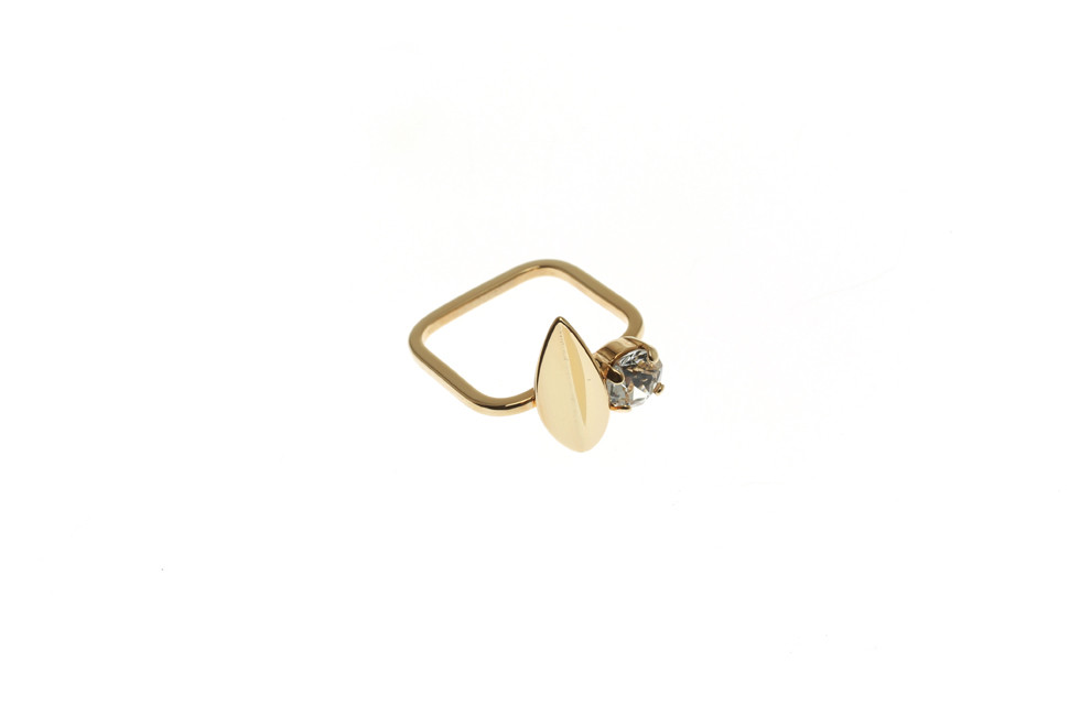 Ring with Leaf and Crystal