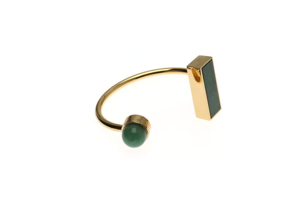 Open bangle with gemstone pearl and rectangle