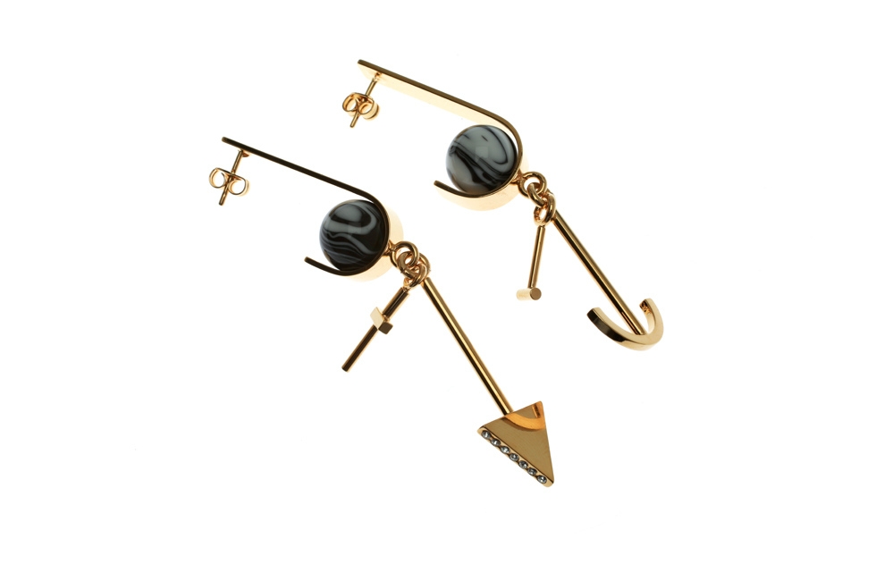Earrings with Marbled Globe and Charms