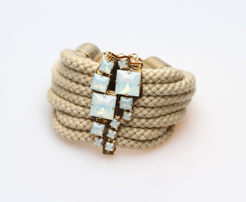 CORD BRACELET WITH CRYSTALS