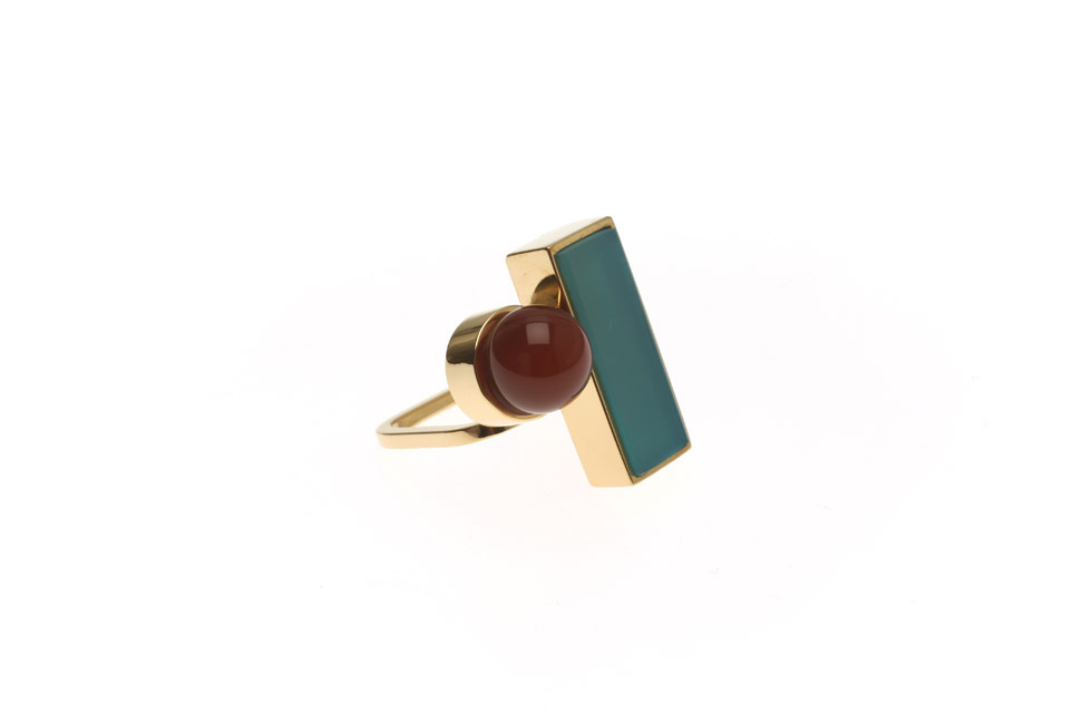 Ring Fine with Rectangular and Gemstone Pearl