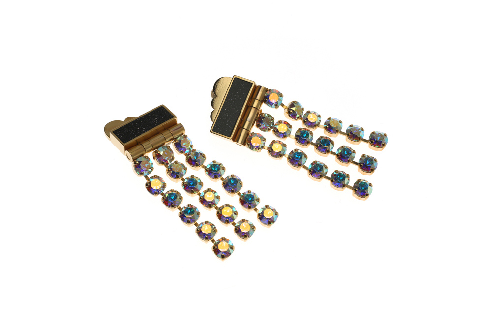 Statement clip earrings with moon crystal tri fingers