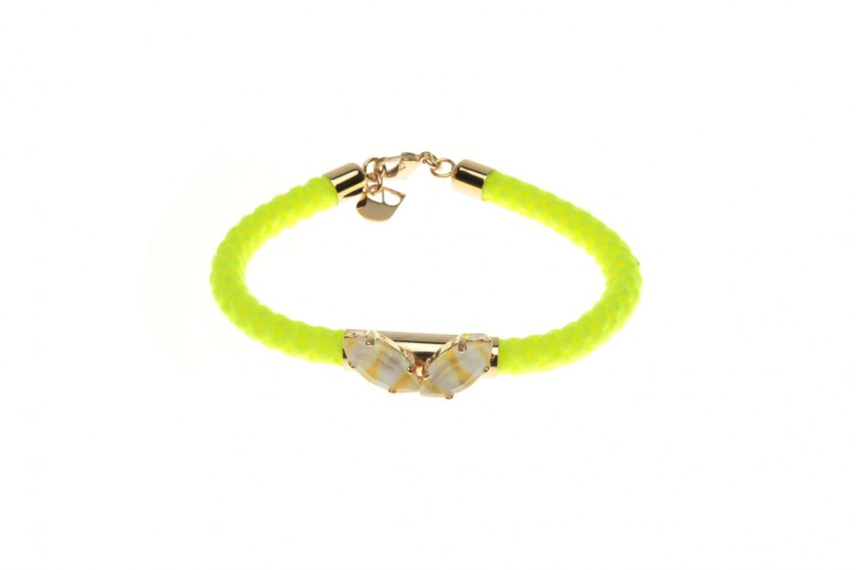Cord bracelet with leaves