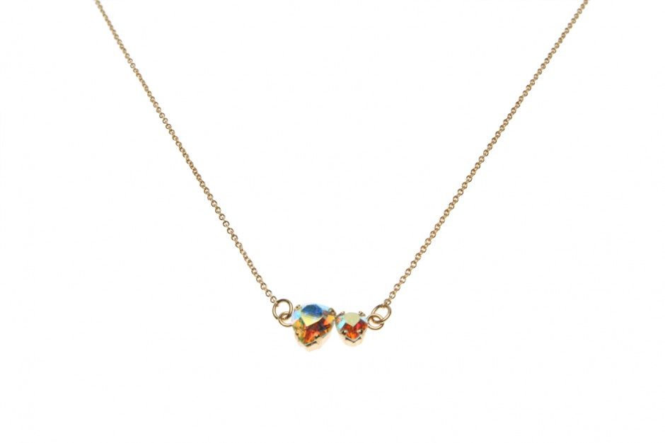 NECKLACE SUPERFINE WITH 2 HEART PENDANTS