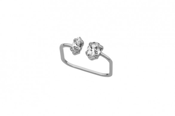 Ring TINY open double silver
