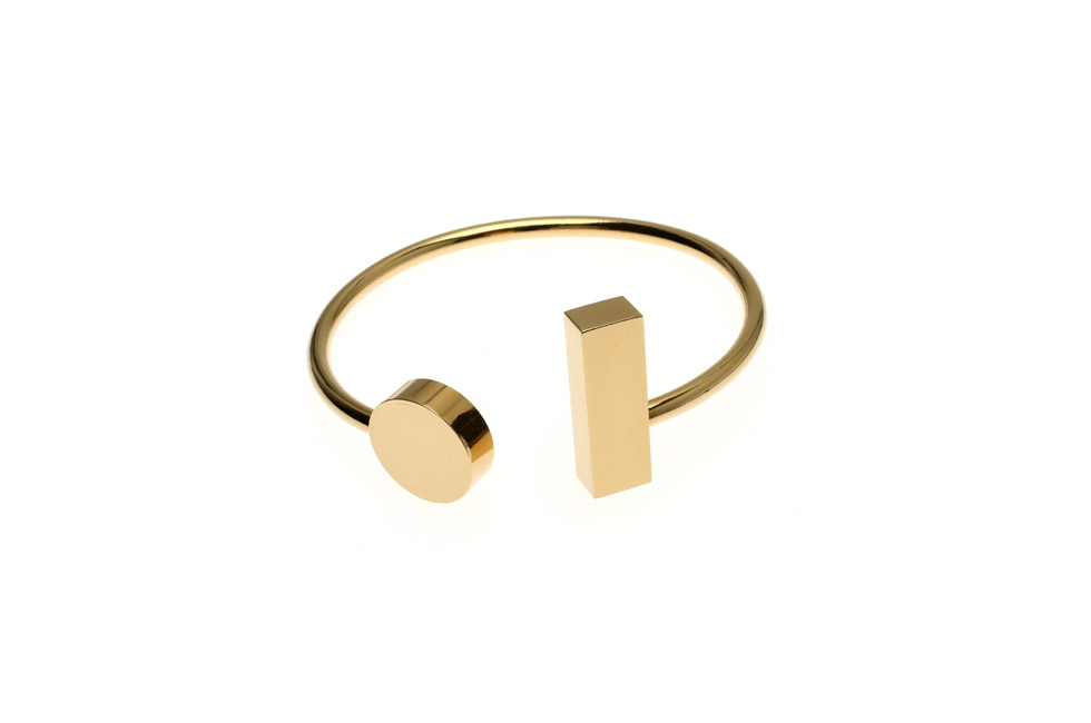 Open bangle with disc and rectangle