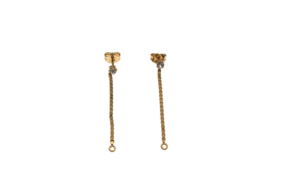 sparkly pin earrings with single chain draped short