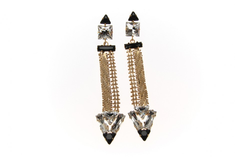 Earrings Art Deco Indian Dart Chain
