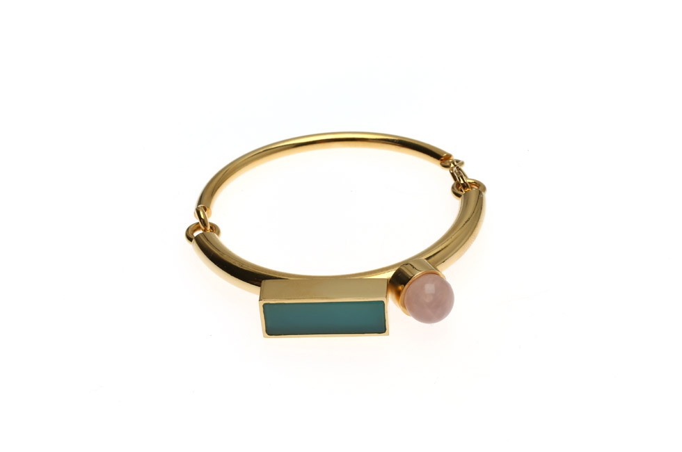 Half circlet duo bracelet with pearl and rectangle