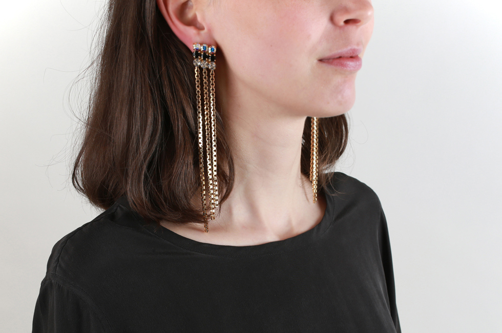 Clip earrings with crystal carre and comet tales