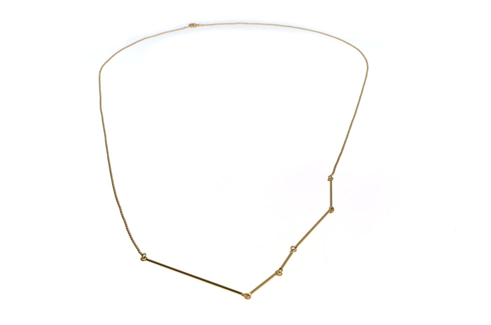 Long pearl and stick chain necklace