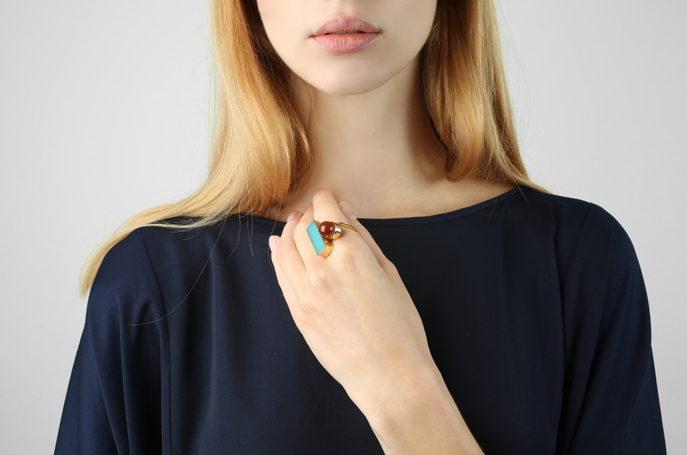 Fine ring with rectangular and carre