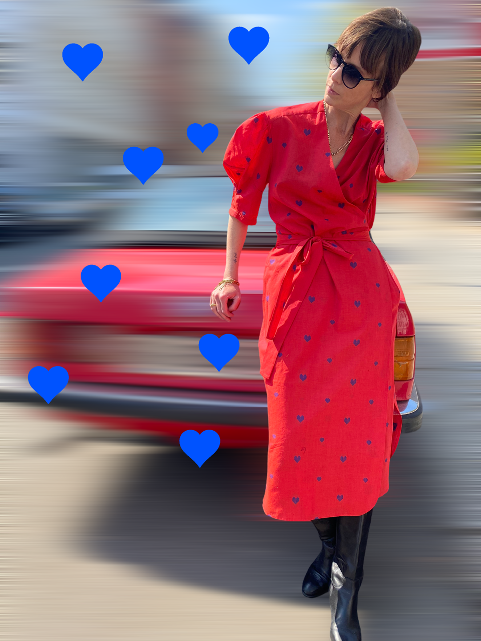 DRESS O´KEEFFE, red with blue hearts