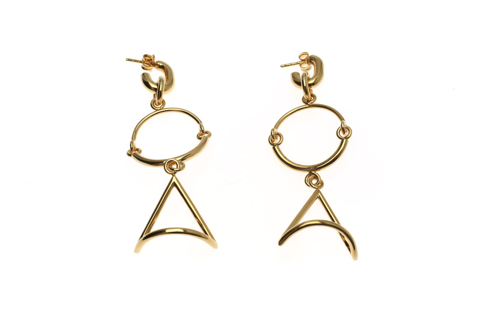 Small Half Circlet Duo Earrings with Triangle of Wisdom