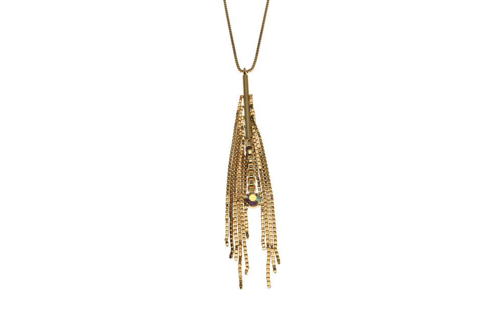 Necklace with sparkly big feather