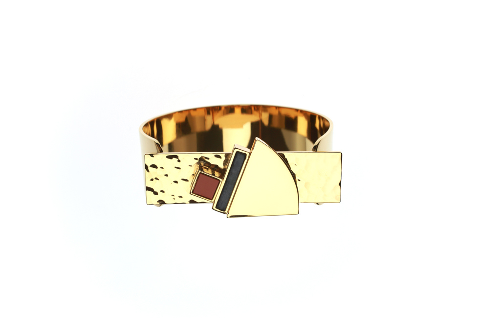 Cuff Bracelet with embellished hammered plate