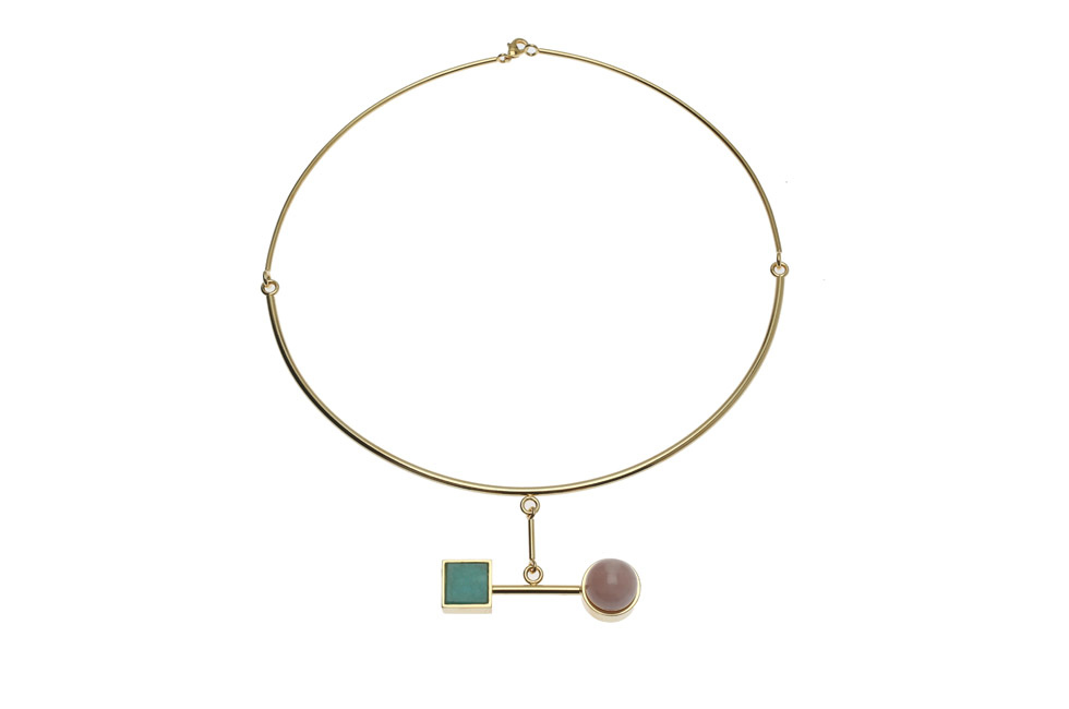 Circlet collier with carré and pearl mobile