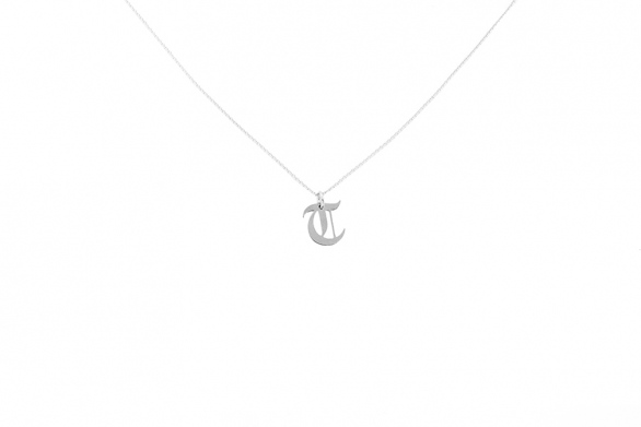 Alphabet NECKLACE Letter T silver