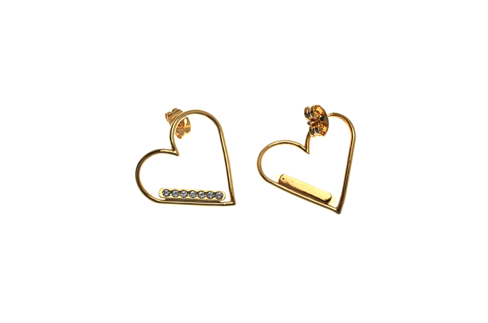 Earrings with Crystallized Heart