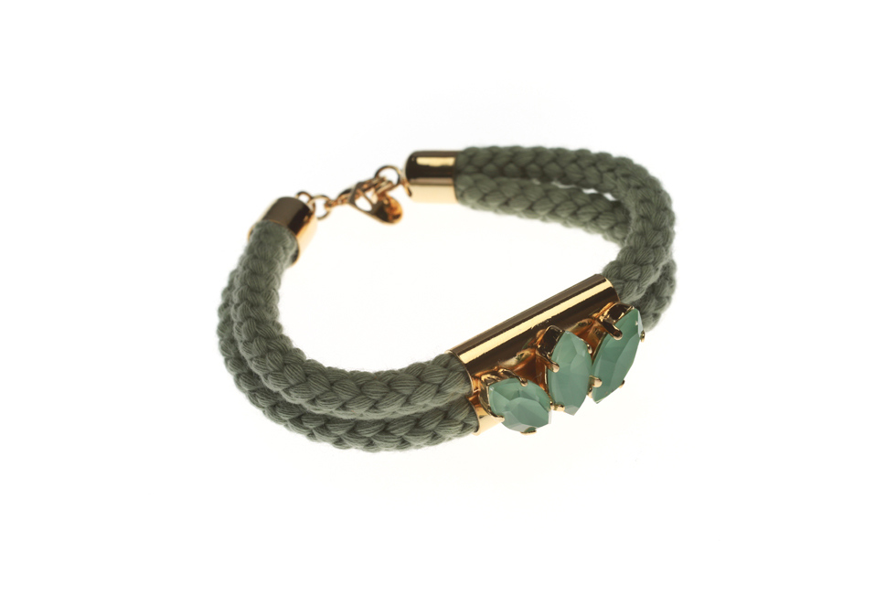 DOUBLE CORD BRACELET WITH CROWN SETTING