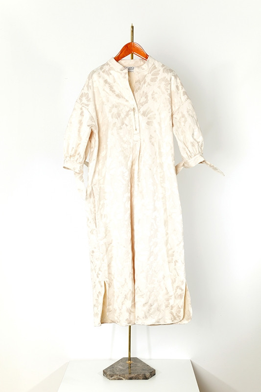 DRESS CRESPI jacquard, off-white