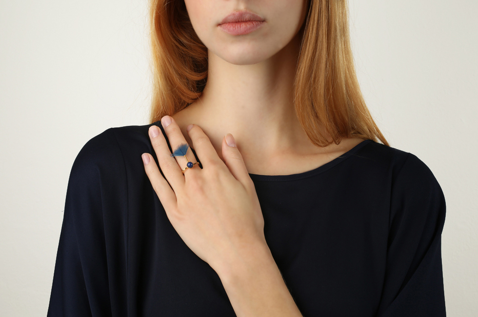 Superfine Ring with Pearl And Feather