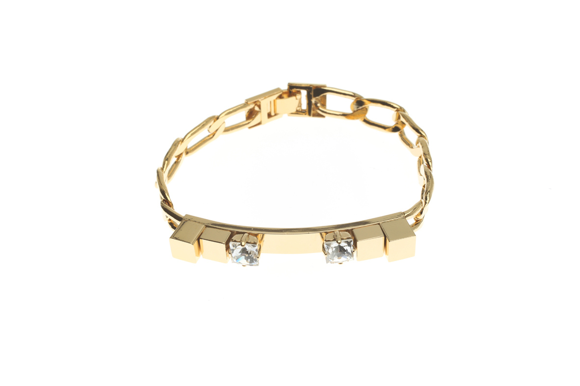 Curb bracelet with identical cubes and crystals