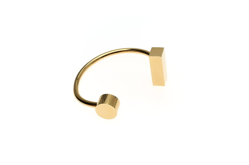 Upper arm bangle with disc and rectangle