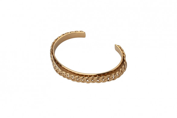 CUFF BRACELET WITH CURB CHAIN