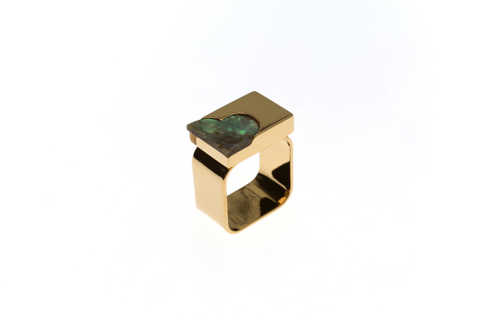 wide ring with signet heart