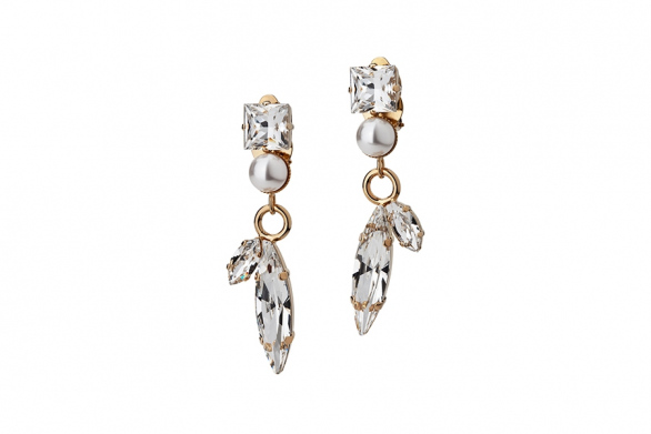 EARRINGS CLIPS LEAVES AND PEARLS
