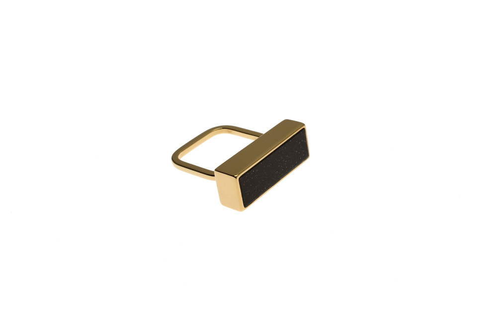 Fine ring with rectangular setting